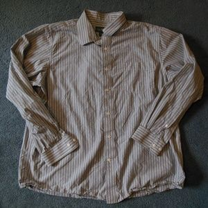 Eddie Bauer XL Gray White Stripe Button Shirt L/S